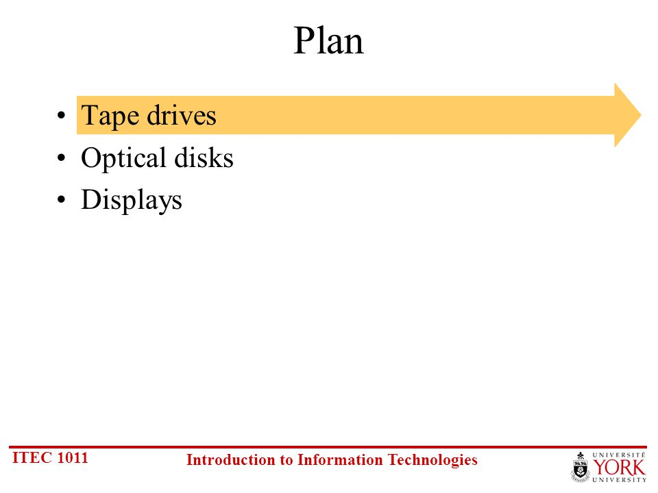 ITEC 1011 Introduction to Information Technologies Rationale Magnetic tape is used as secondary storage when… Offline storage is acceptable or preferred Capacity requirements exceed that of floppy disks Sequential access is adequate Magnetic tape is used for… Off-site data preparation Backup