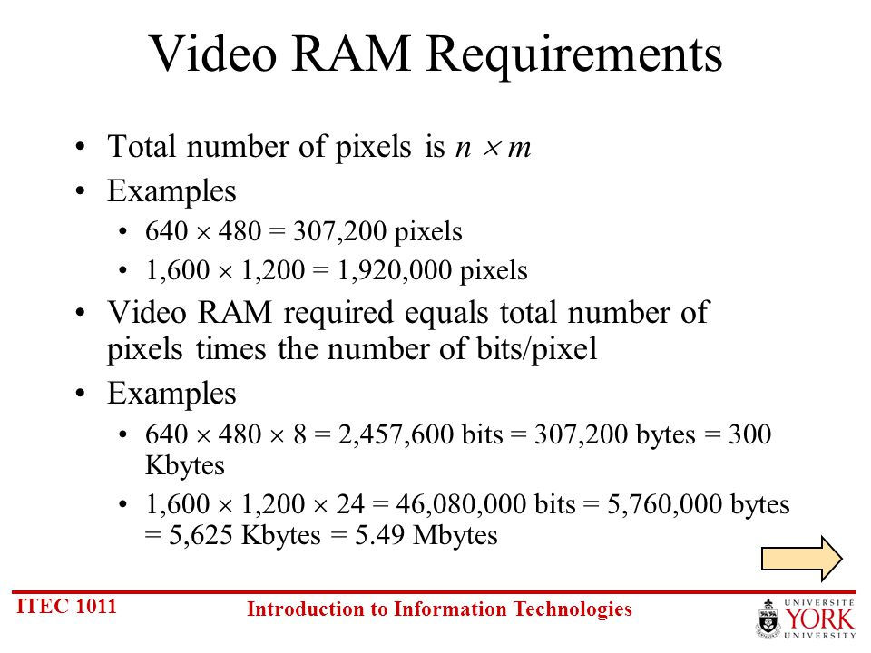 ITEC 1011 Introduction to Information Technologies Video RAM Requirements Total number of pixels is n m Examples 640 480 = 307,200 pixels 1,600 1,200 = 1,920,000 pixels Video RAM required equals total number of pixels times the number of bits/pixel Examples 640 480 8 = 2,457,600 bits = 307,200 bytes = 300 Kbytes 1,600 1,200 24 = 46,080,000 bits = 5,760,000 bytes = 5,625 Kbytes = 5.49 Mbytes