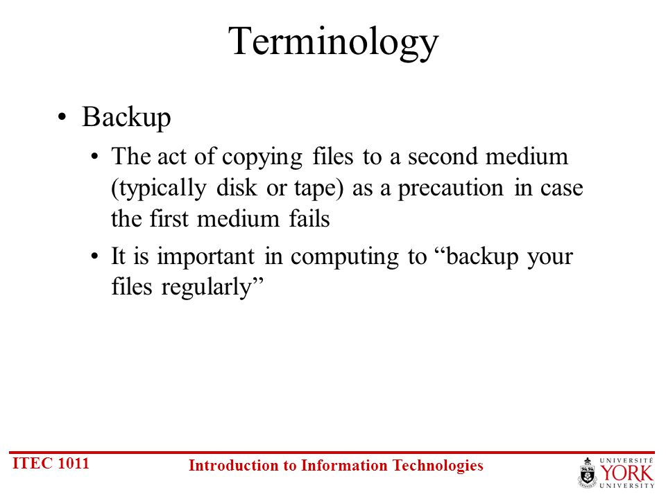 ITEC 1011 Introduction to Information Technologies Read/Write Variations WORM (Write Once, Read Many) Magneto Optical