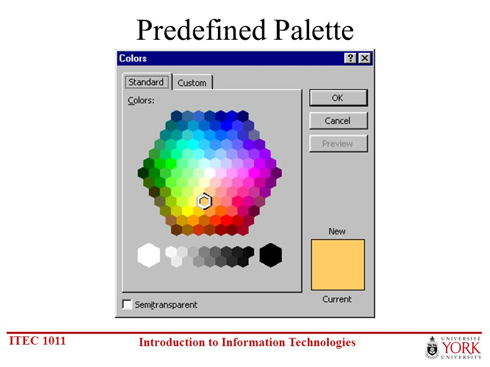 ITEC 1011 Introduction to Information Technologies Predefined Palette