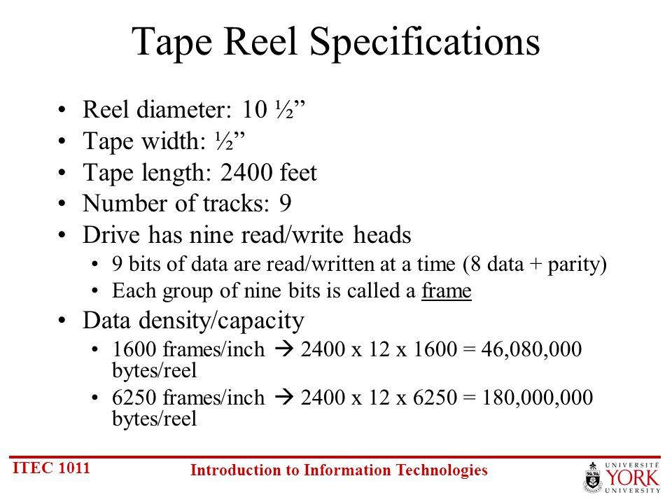 ITEC 1011 Introduction to Information Technologies Resolution Bits per pixel 8 bit16 bit24 bit 640 x 480300600900 800 x 600468.75937.51406.25 1024 x 76876815362304 1152 x 1024115223043456 1280 x 1024128025603840 1600 x 1200187537505625 Video RAM (KB) Per Image See previous slide for calculations