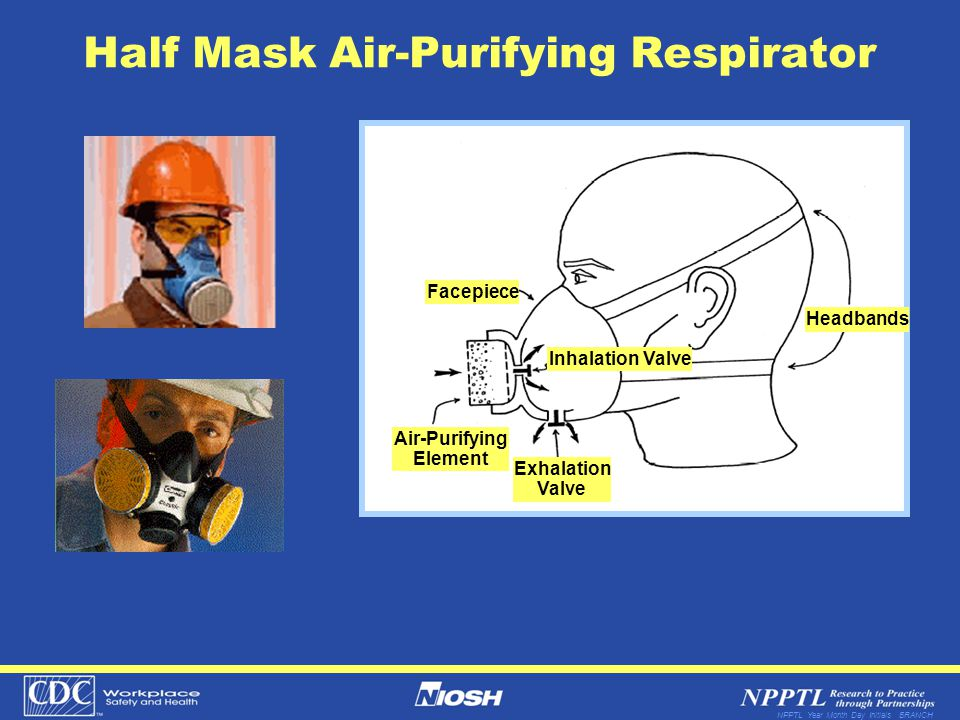 NPPTL Year Month Day Initials BRANCH Half Mask Air-Purifying Respirator Facepiece Air-Purifying Element Exhalation Valve Inhalation Valve Headbands