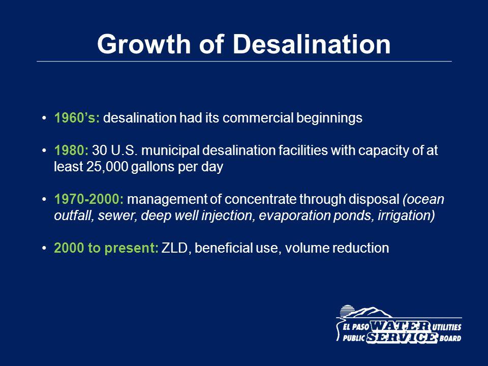 Estimated 340 Plants Estimated 300 Plants Municipal Desalination Plants operating in U.S.