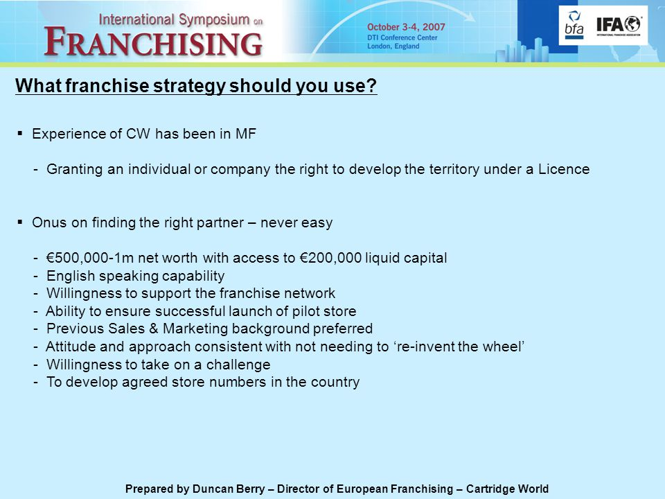 What franchise strategy should you use.