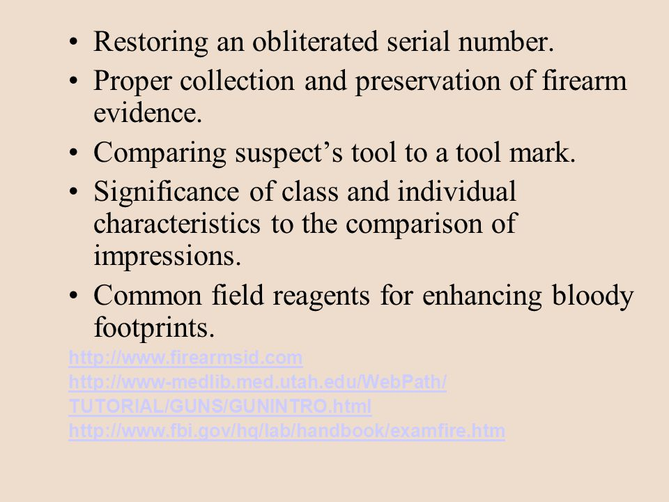 Firearms: a discipline mainly concerned with determining whether a bullet or cartridge was fired by a particular weapon.