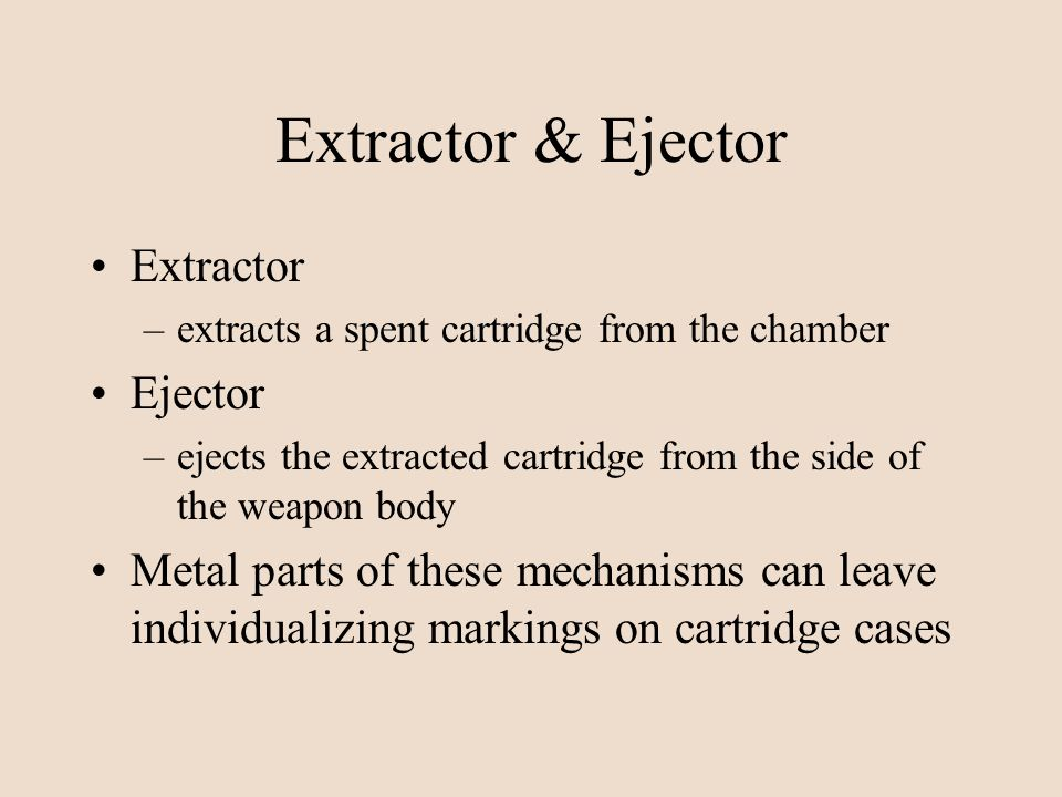Extractor & Ejector Extractor –extracts a spent cartridge from the chamber Ejector –ejects the extracted cartridge from the side of the weapon body Me