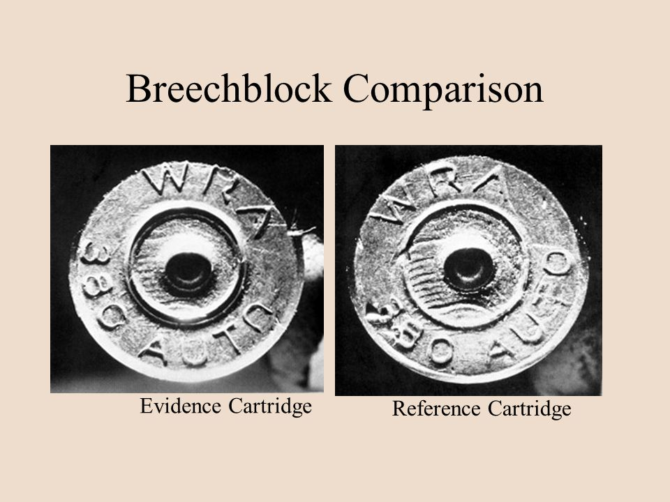 Breechblock Comparison Evidence Cartridge Reference Cartridge