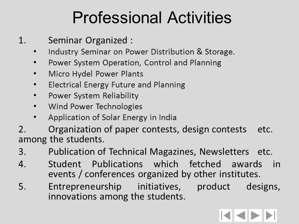 Professional Activities 1.Seminar Organized : Industry Seminar on Power Distribution & Storage. Power System Operation, Control and Planning Micro Hyd