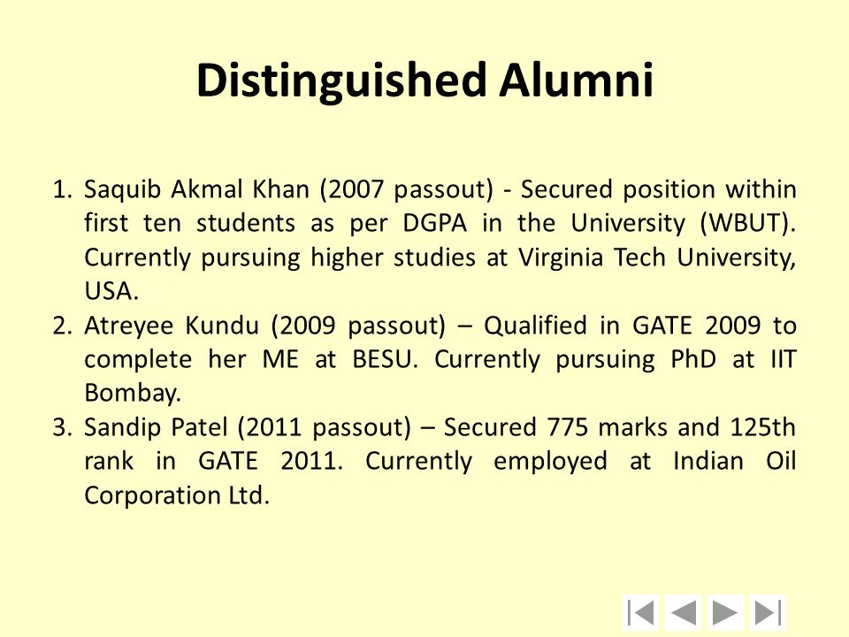 Distinguished Alumni 1.Saquib Akmal Khan (2007 passout) - Secured position within first ten students as per DGPA in the University (WBUT). Currently p