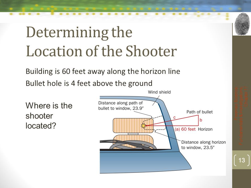 Determining the Location of the Shooter Building is 60 feet away along the horizon line Bullet hole is 4 feet above the ground Forensic Science: Funda