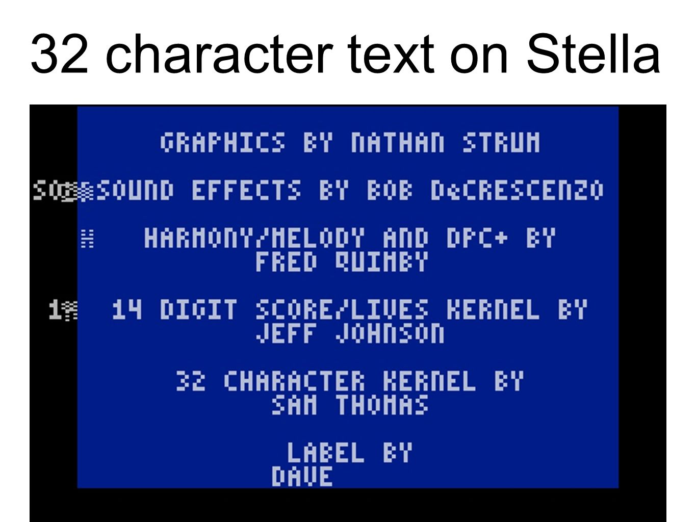 32 character text on Stella