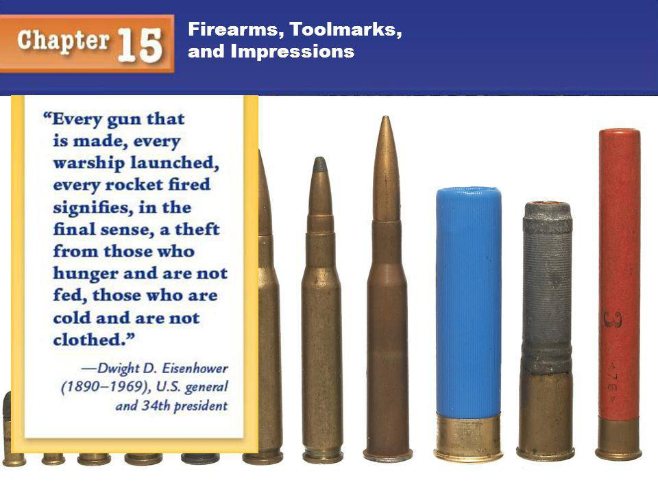 Firearms, Toolmarks, and Impressions 12 Cartridge Case, continued Individual characteristics Firing pin marks Breech marks Extractor marks