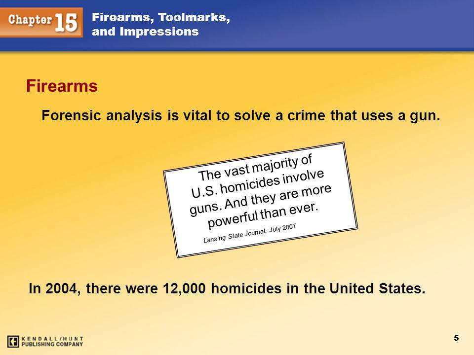 Firearms, Toolmarks, and Impressions 6 Types of Firearms Handguns (pistols) Revolver Semiautomatic Rifles Shotguns Air or BB guns
