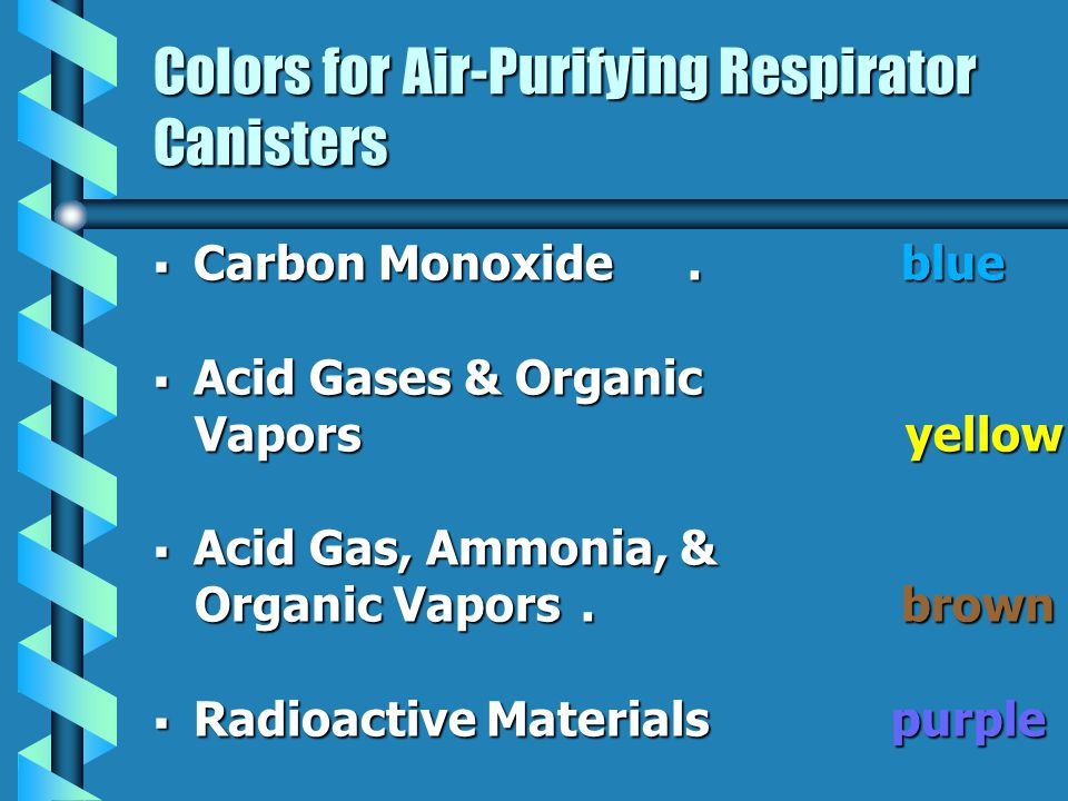 Colors for Air-Purifying Respirator Canisters Carbon Monoxide.blue Carbon Monoxide.blue Acid Gases & Organic Acid Gases & Organic Vapors yellow Vapors