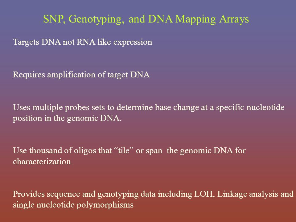 Targets DNA not RNA like expression Requires amplification of target DNA Uses multiple probes sets to determine base change at a specific nucleotide p