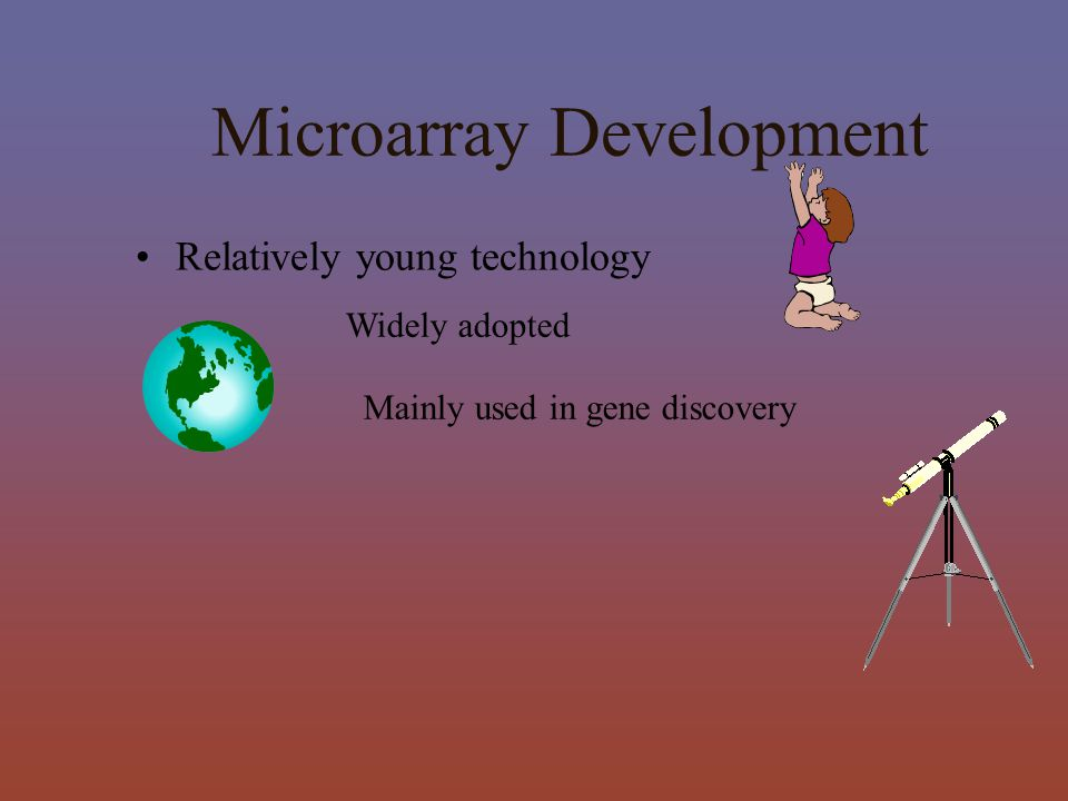 Mainly used in gene discovery Microarray Development Widely adopted Relatively young technology