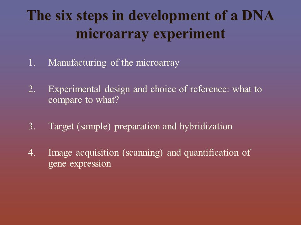 The six steps in development of a DNA microarray experiment 1.Manufacturing of the microarray 2.Experimental design and choice of reference: what to c