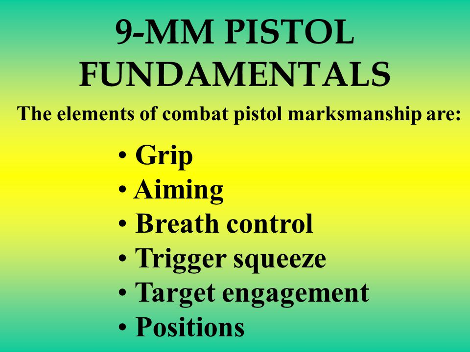 The main use of the 9-MM semi-automatic pistol is to engage an enemy at close range with quick, accurate fire. Accurate shooting results from knowing