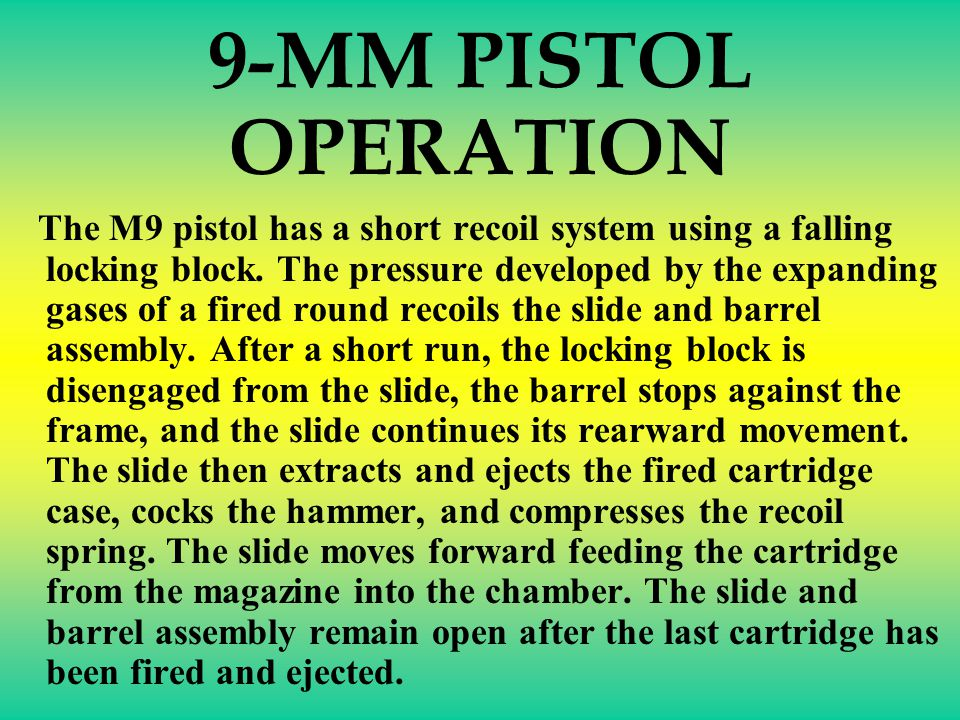 9-MM PISTOL RE-ASSEMBLY PORTION OF PMI