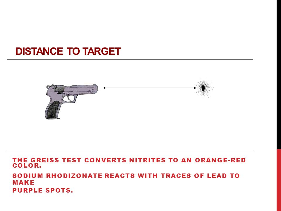 DISTANCE TO TARGET THE GREISS TEST CONVERTS NITRITES TO AN ORANGE-RED COLOR.