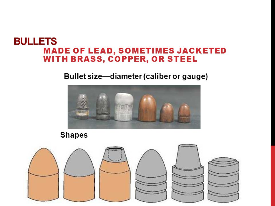 BULLETS MADE OF LEAD, SOMETIMES JACKETED WITH BRASS, COPPER, OR STEEL Bullet sizediameter (caliber or gauge) Shapes