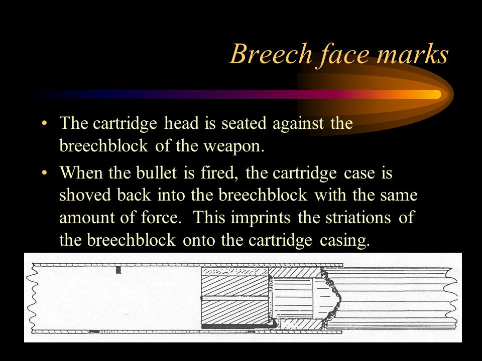 Breech face marks The cartridge head is seated against the breechblock of the weapon. When the bullet is fired, the cartridge case is shoved back into