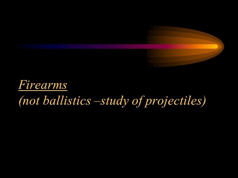 Firearms (not ballistics –study of projectiles)
