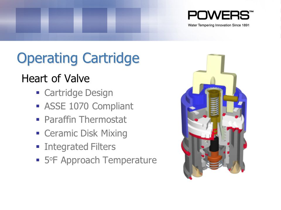 Operating Cartridge Heart of Valve Cartridge Design ASSE 1070 Compliant Paraffin Thermostat Ceramic Disk Mixing Integrated Filters 5 o F Approach Temperature