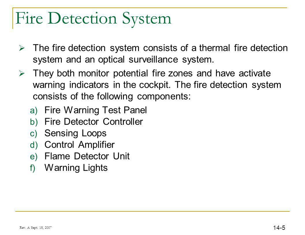 Rev. A Sept. 18, 2007 14-5 Fire Detection System The fire detection system consists of a thermal fire detection system and an optical surveillance sys