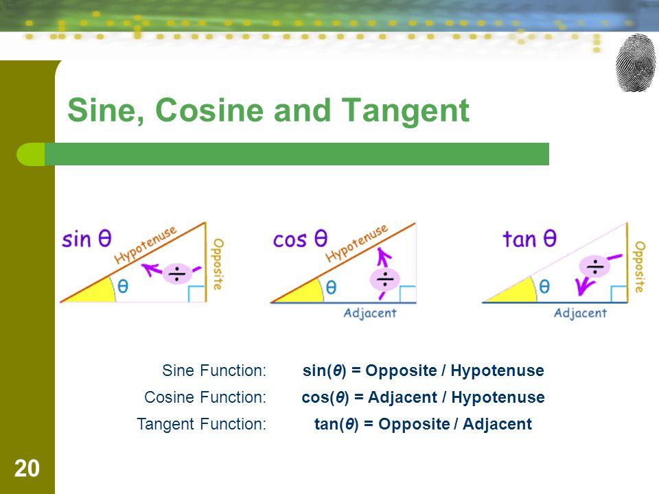 Sine, Cosine and Tangent 20 Sine Function:sin(θ) = Opposite / Hypotenuse Cosine Function:cos(θ) = Adjacent / Hypotenuse Tangent Function:tan(θ) = Opposite / Adjacent