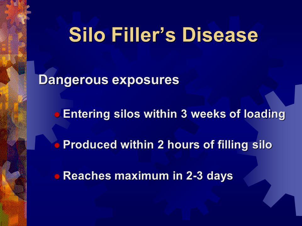 Silo Fillers Disease Dangerous exposures Entering silos within 3 weeks of loading Entering silos within 3 weeks of loading Produced within 2 hours of