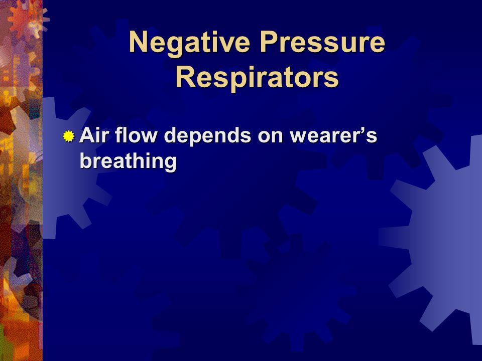 Negative Pressure Respirators Air flow depends on wearers breathing Air flow depends on wearers breathing