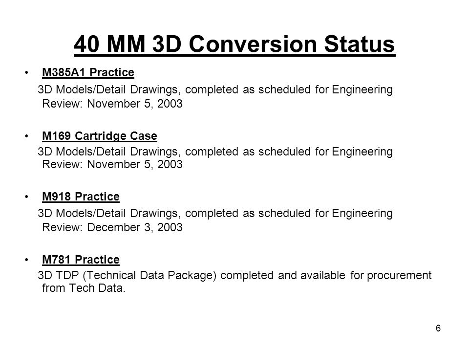 6 40 MM 3D Conversion Status M385A1 Practice 3D Models/Detail Drawings, completed as scheduled for Engineering Review: November 5, 2003 M169 Cartridge
