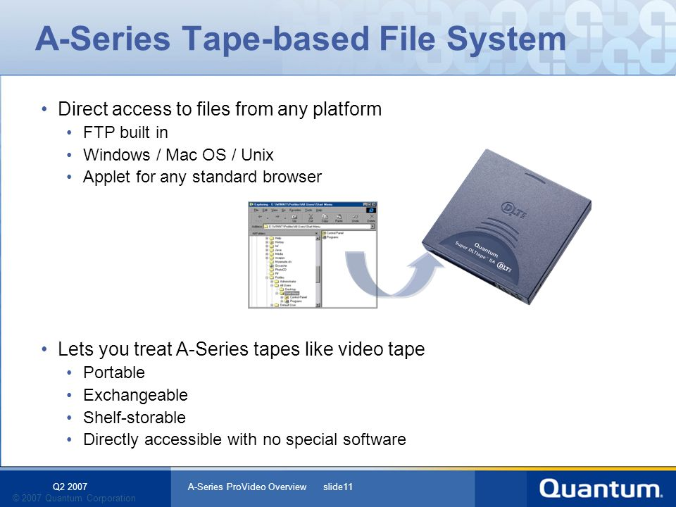 Q2 2007 A-Series ProVideo Overview slide11 © 2007 Quantum Corporation Direct access to files from any platform FTP built in Windows / Mac OS / Unix Applet for any standard browser Lets you treat A-Series tapes like video tape Portable Exchangeable Shelf-storable Directly accessible with no special software A-Series Tape-based File System
