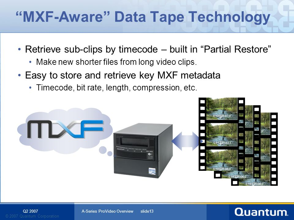 Q2 2007 A-Series ProVideo Overview slide13 © 2007 Quantum Corporation MXF-Aware Data Tape Technology Retrieve sub-clips by timecode – built in Partial Restore Make new shorter files from long video clips.