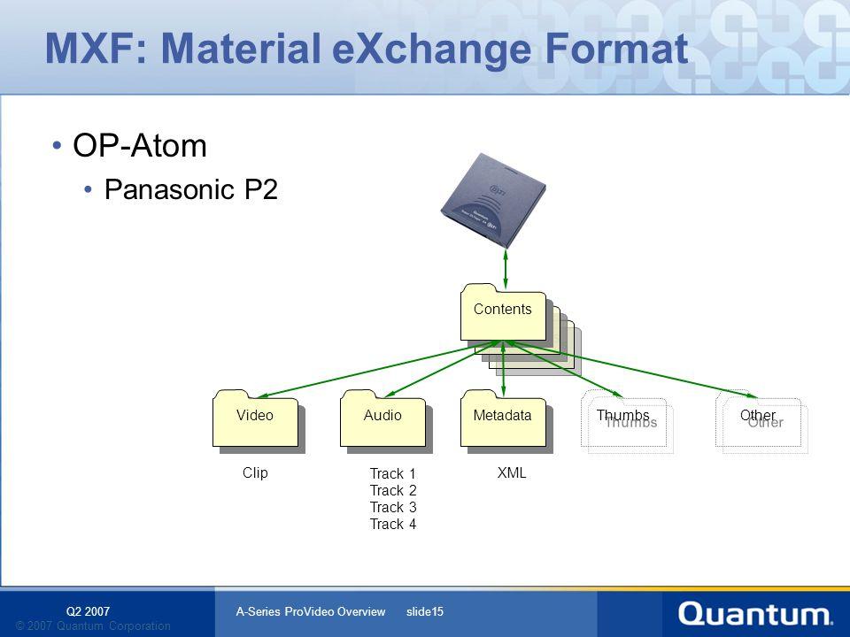Q2 2007 A-Series ProVideo Overview slide15 © 2007 Quantum Corporation Contents MXF: Material eXchange Format OP-Atom Panasonic P2 Contents Metadata Au