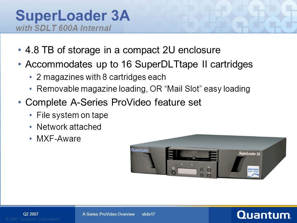 Q2 2007 A-Series ProVideo Overview slide17 © 2007 Quantum Corporation SuperLoader 3A with SDLT 600A Internal 4.8 TB of storage in a compact 2U enclosu
