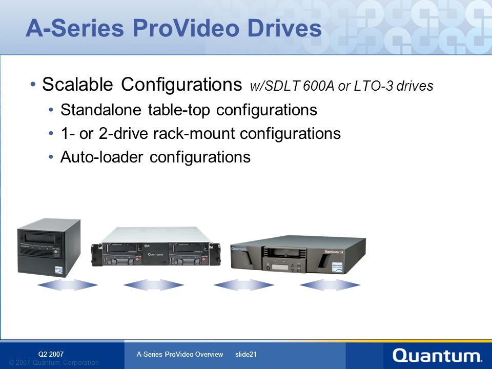 Q2 2007 A-Series ProVideo Overview slide21 © 2007 Quantum Corporation A-Series ProVideo Drives Scalable Configurations w/SDLT 600A or LTO-3 drives Standalone table-top configurations 1- or 2-drive rack-mount configurations Auto-loader configurations