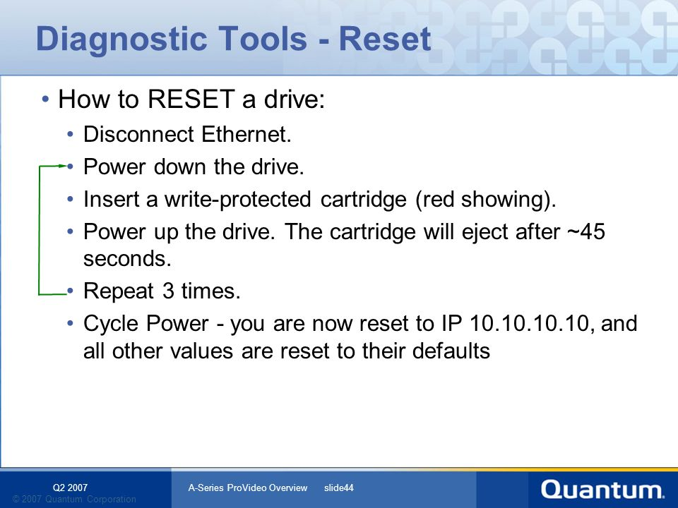 Q2 2007 A-Series ProVideo Overview slide44 © 2007 Quantum Corporation Diagnostic Tools - Reset How to RESET a drive: Disconnect Ethernet. Power down t