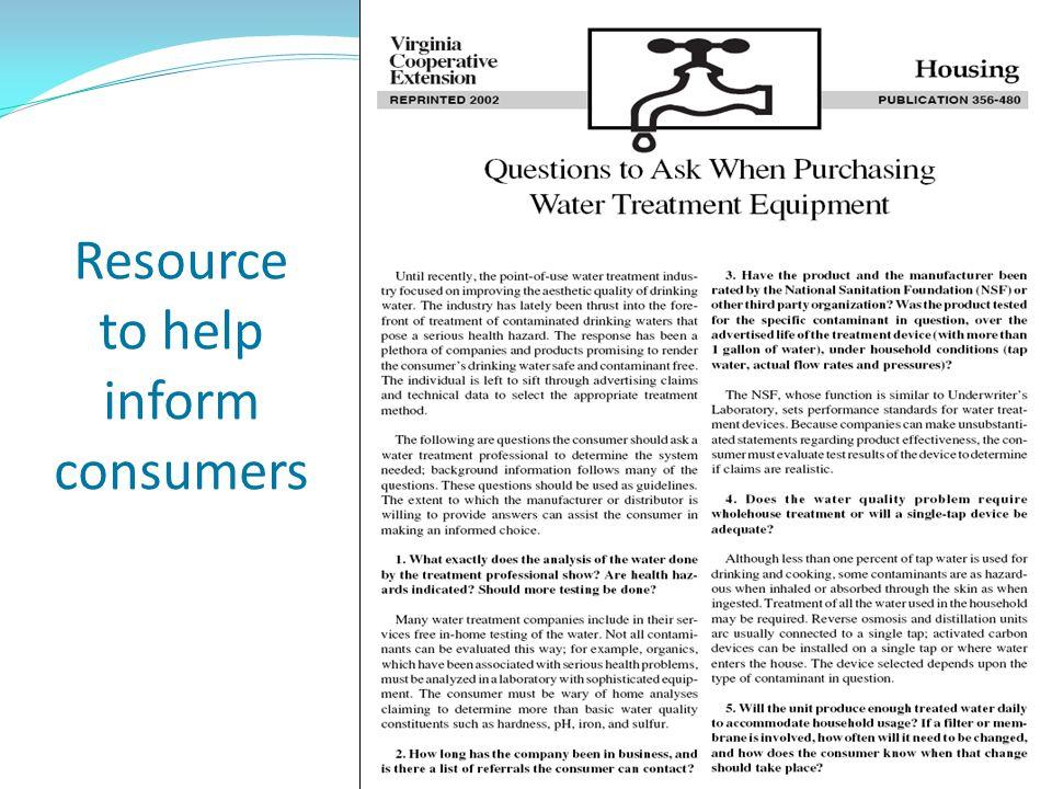 Resource to help inform consumers