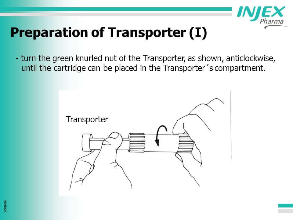 2008-04 Preparation of Transporter (II) - take the cartridge and put it into the Transporter´s compartment.