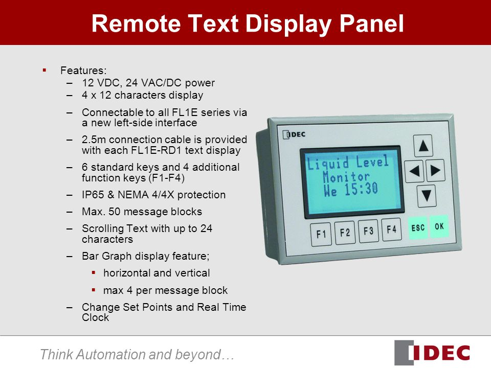 Think Automation and beyond… Remote Text Display Panel Features: –12 VDC, 24 VAC/DC power –4 x 12 characters display –Connectable to all FL1E series v