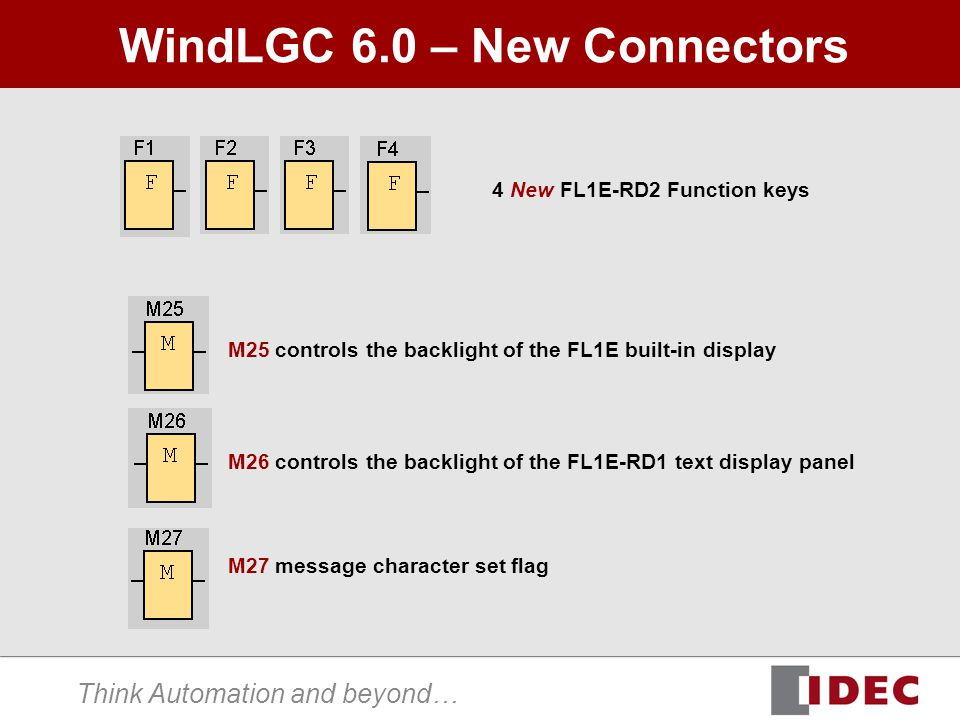 Think Automation and beyond… WindLGC 6.0 – New Connectors 4 New FL1E-RD2 Function keys M25 controls the backlight of the FL1E built-in display M26 con