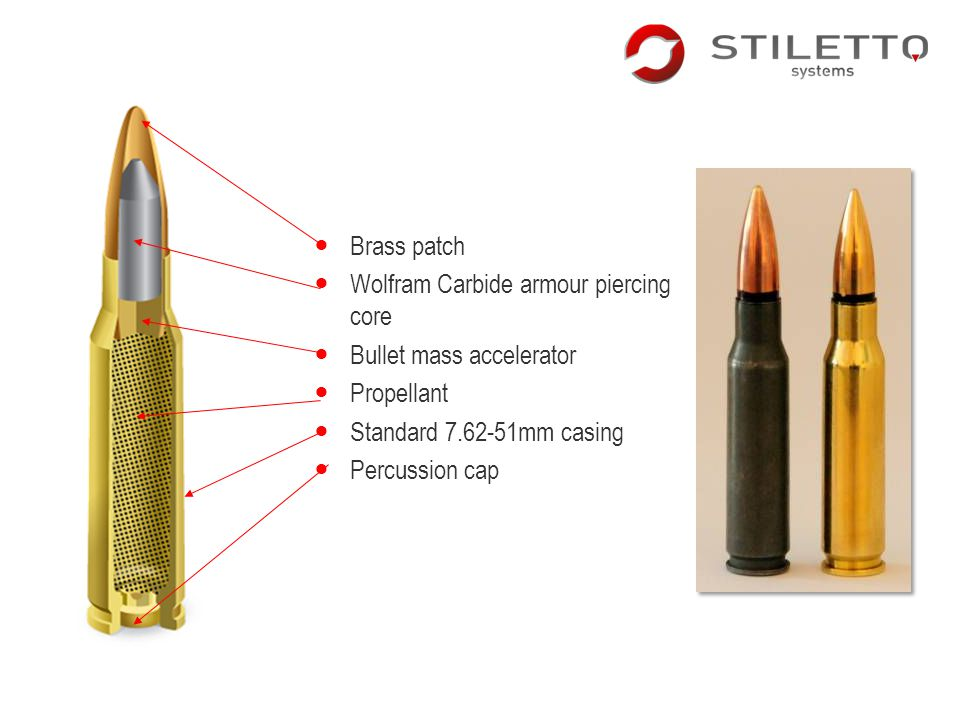 Brass patch Wolfram Carbide armour piercing core Bullet mass accelerator Propellant Standard 7.62-51mm casing Percussion cap