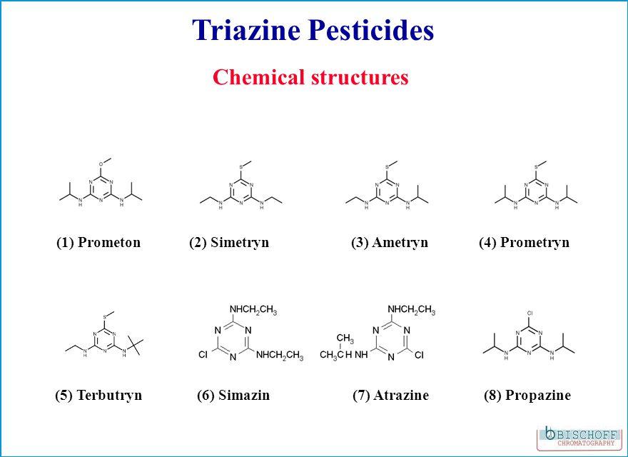 Triazine Pesticides Chemical structures (1) Prometon(2) Simetryn(3) Ametryn(4) Prometryn (5) Terbutryn(6) Simazin(7) Atrazine(8) Propazine