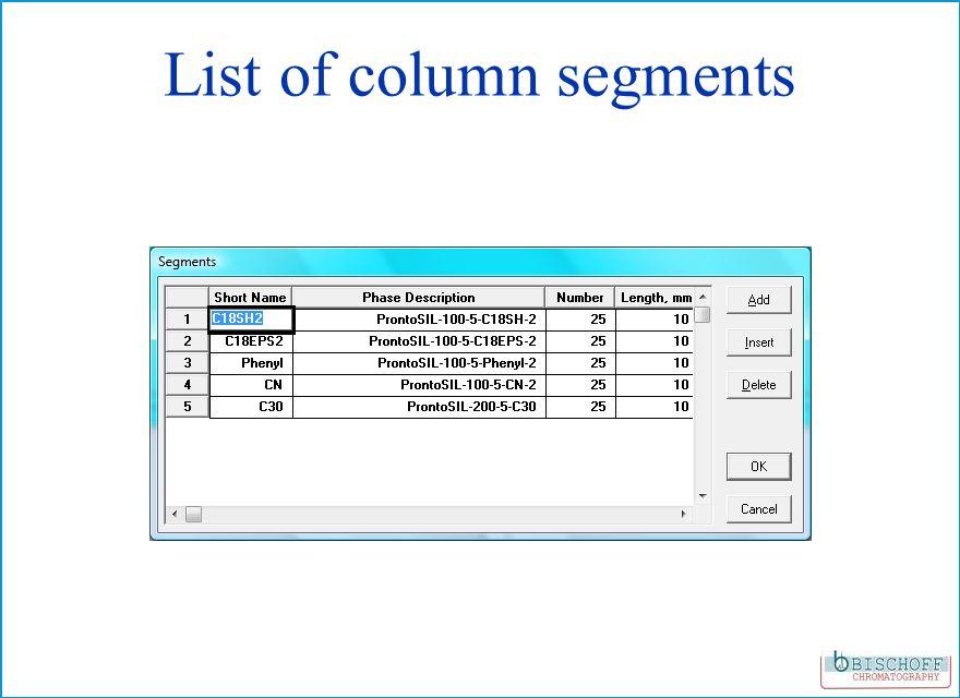 List of column segments