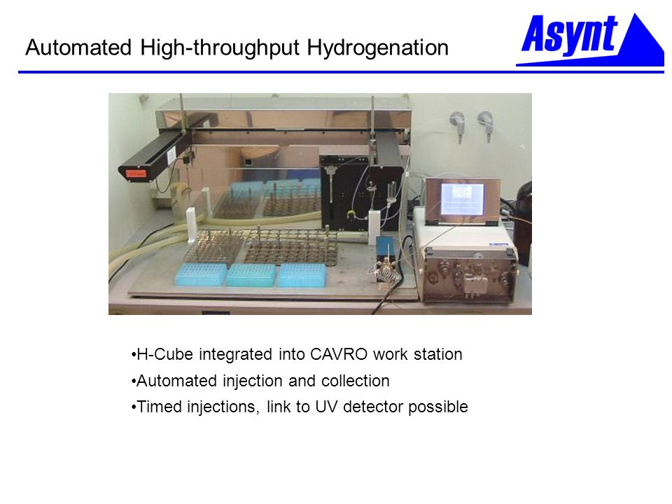 Automated High-throughput Hydrogenation H-Cube integrated into CAVRO work station Automated injection and collection Timed injections, link to UV dete