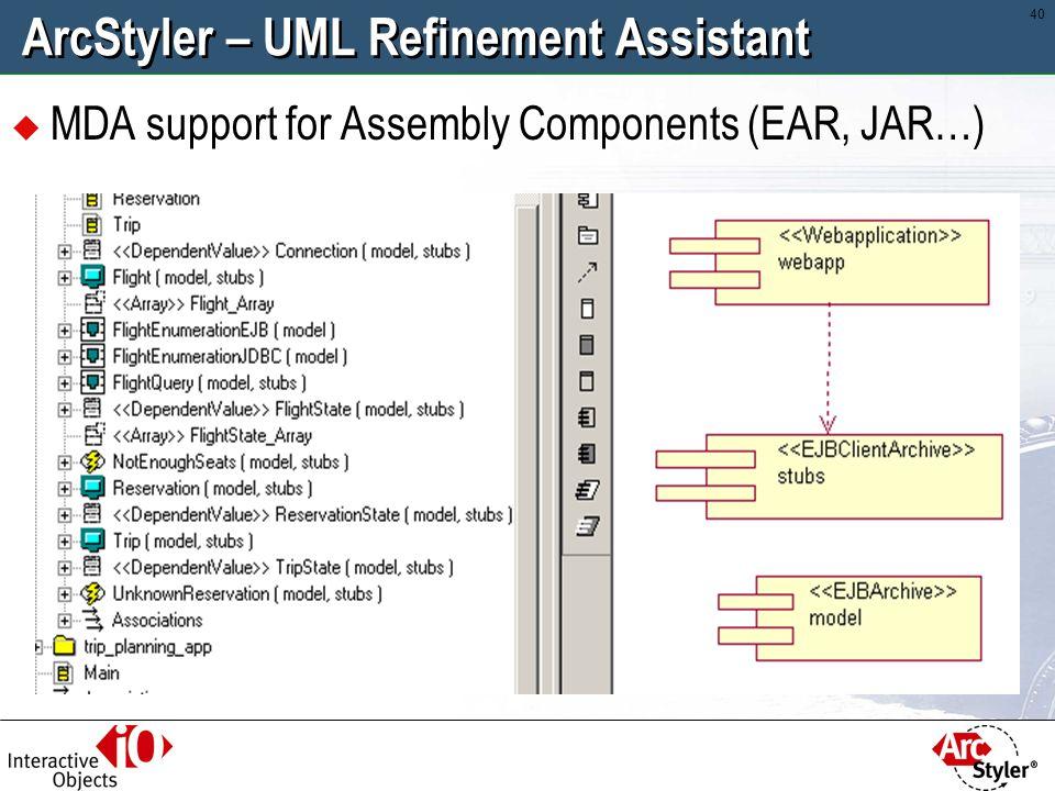 39 ArcStyler – UML Refinement Assistant Automatic Web Service enabling. Comprehensive.