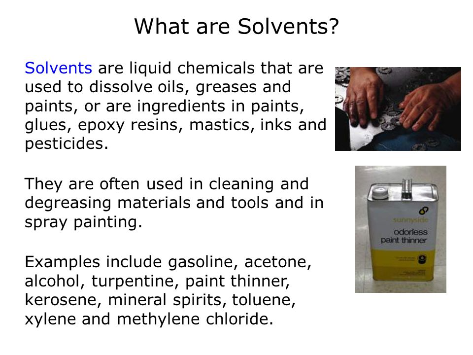 Solvent vapors in the air Because most solvents send vapors into the air, inhalation is the most common route of exposure.
