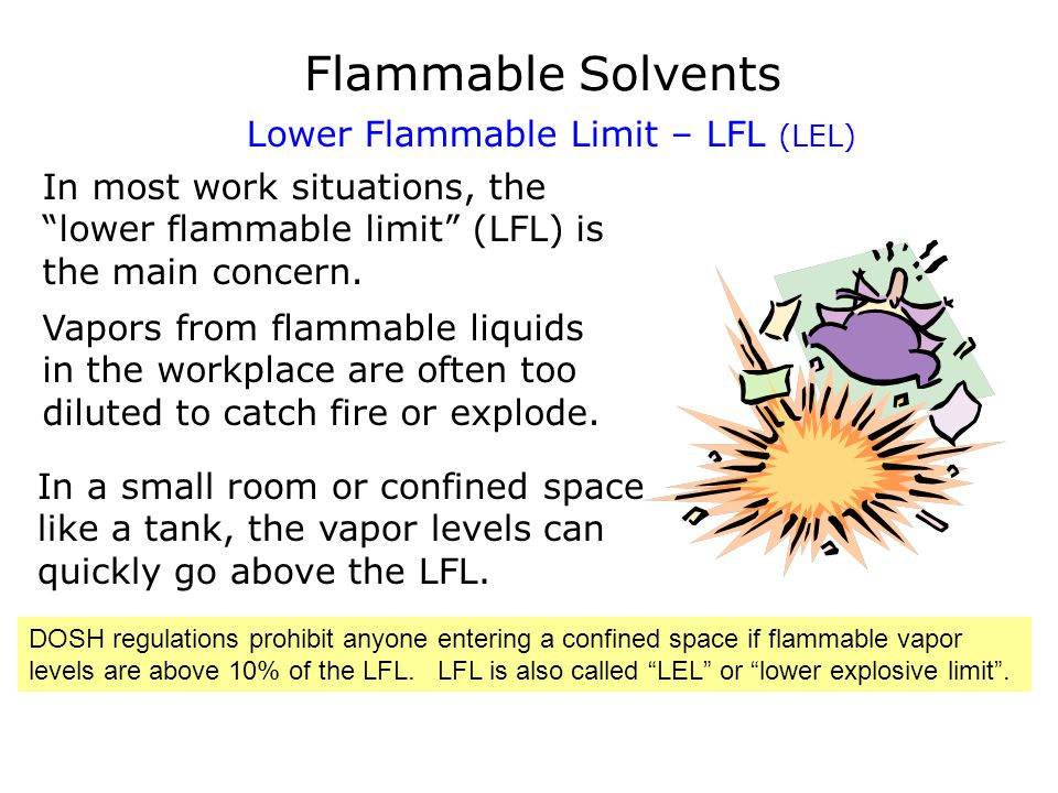 Flammable Solvents Lower Flammable Limit – LFL (LEL) In most work situations, the lower flammable limit (LFL) is the main concern. Vapors from flammab